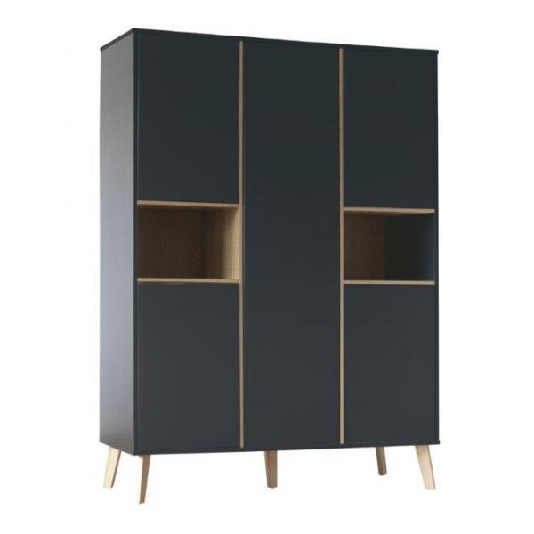 Pericles Style Black Wardrobe 5 doors