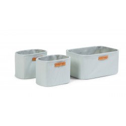 Childhome - Set Of 3 Hanging Storage Baskets - 21x14x10 Cm + 14x10x10 Cm - Light Grey