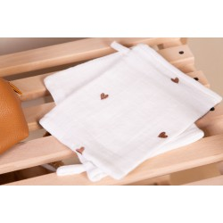 Childhome - Tetra Face Cloths - Cotton - Off White + Hearts - 4 Pcs